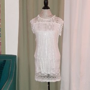 Boho white lace dress